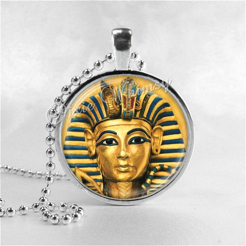 King Tut Necklace Pendant Art Jewelry with Ball Chain, Egyptian Jewelry