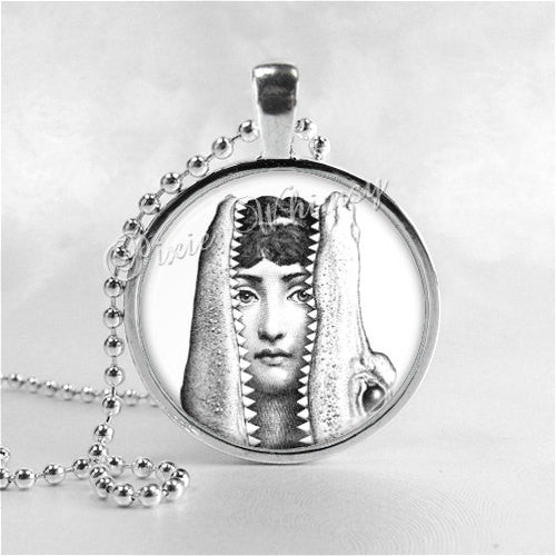 Fornasetti Face Necklace Art Pendant Jewelry with Ball Chain, Woman with Alligator, Crocodile