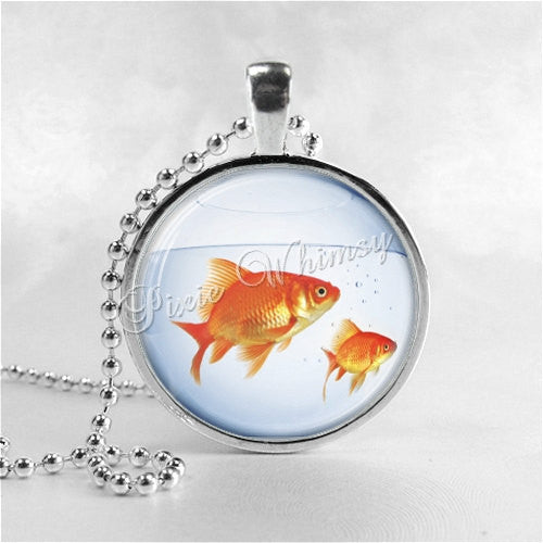 Goldfish Necklace Art Pendant Jewelry with Ball Chain, FIshbowl, Fish Necklace
