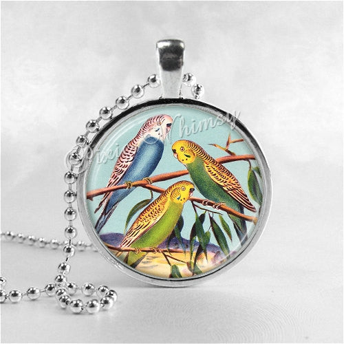Parakeet Necklace Pendant Art Jewelry with Ball Chain, Bird Necklace, Budgie, Budgerigar Bird Necklace