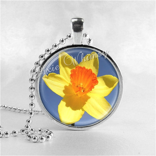 Daffodil Necklace Art Pendant Jewelry with Ball Chain, Flower Necklace, Daffodil Bloom