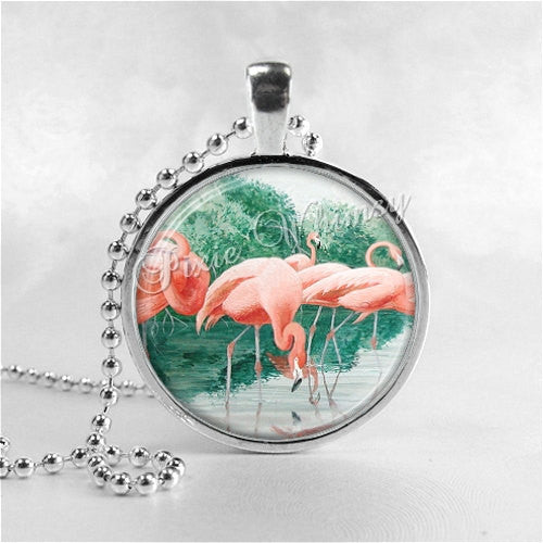 Flamingo Necklace Pendant Art Jewelry with Ball Chain, Pink Flamingos, Bird Jewelry