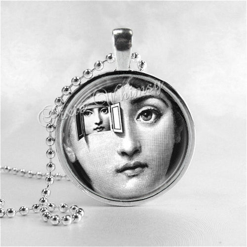 Fornasetti Face Necklace Art Pendant Jewelry with Ball Chain, A Different View