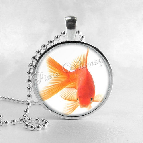 Goldfish Necklace Art Pendant Jewelry with Ball Chain, Fish Necklace, Goldfish Jewelry