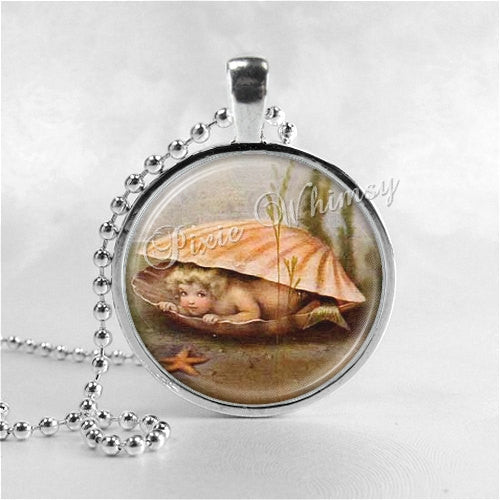 MERMAID BABY Necklace, Mermaid Necklace, Mermaid Jewelry, Mermaid Pendant, Glass Photo Art Pendant Jewelry with Ball Chain, Mermaid Charm
