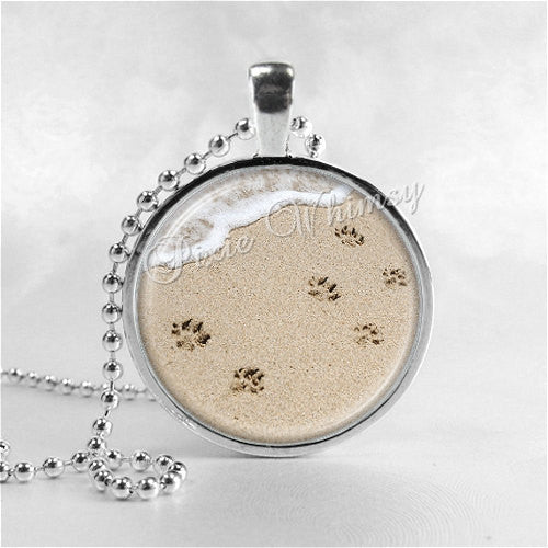 PAWPRINTS In The SAND Necklace Art Pendant Jewelry with Ball Chain, Footprints in the Sand, Animal Necklace, Cat Jewelry, Dog Jewelry