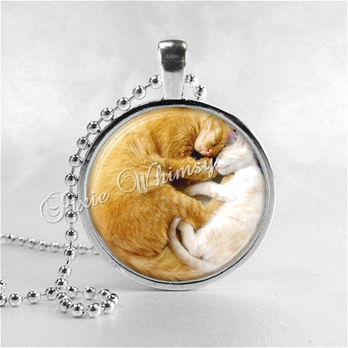 YIN YANG CAT Necklace, Cat Necklace, Cat Jewelry, Cat Pendant, Cat Lover Gift, Yin Yang Necklace, Glass Photo Art Pendant Necklace