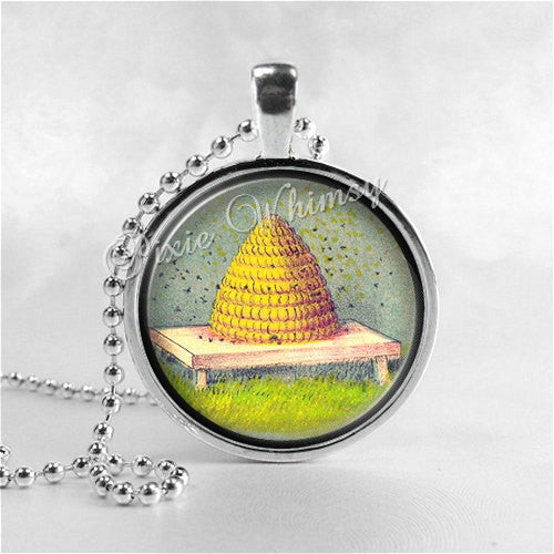 Beehive Necklace Art Pendant Jewelry with Ball Chain, Honey Bee Jewelry, Insect Jewelry, Bee Hive