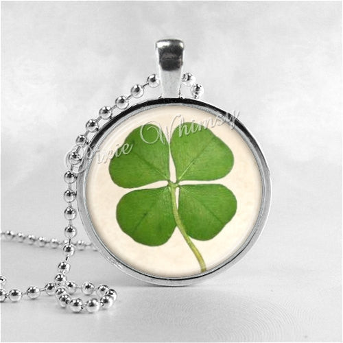 Shamrock Necklace Art Pendant Jewelry with Ball Chain, Four Leaf Clover, Irish Jewelry, Good Luck Jewelry