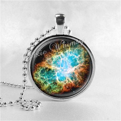 CRAB NEBULA Necklace, Pendant Art Jewelry with Ball Chain, Nebula Jewelry, Galaxy Necklace, Space Necklace