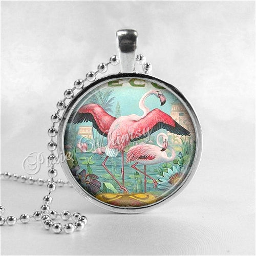 FLAMINGO NECKLACE Art Pendant Jewelry with Ball Chain, Flamingo Pendant, Flamingo Jewelry, Pink Flamingos, Bird Jewelry