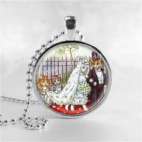 CAT WEDDING Pendant Necklace Cat Art Jewelry with Chain, Bride and Groom Wedding Necklace, Anthropomorphic Cats Kitten Romantic