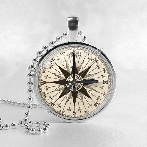 COMPASS Necklace Art Pendant Jewelry with Ball Chain, Marine Compass, Mariners Compass, Nautical Jewelry
