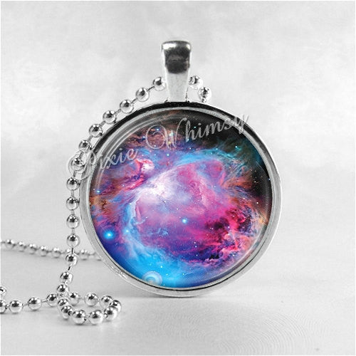 ORION NEBULA Necklace, Pendant Art Jewelry with Ball Chain, Nebula Jewelry, Galaxy Necklace, Space Necklace