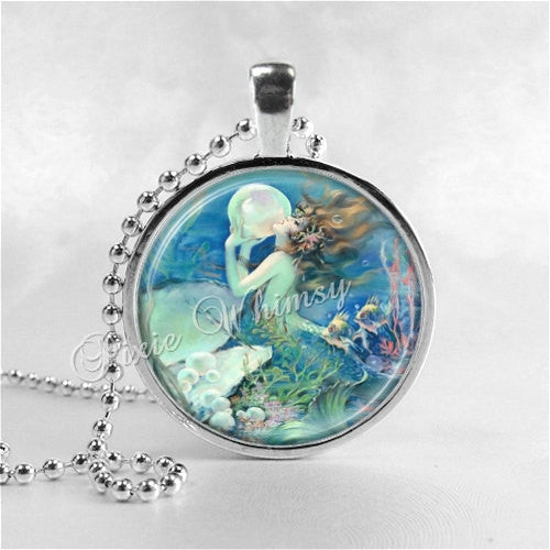 MERMAID Necklace, Mermaid Jewelry, Mermaid Pendant, Mermaid Charm, Glass Photo Art Pendant Necklace