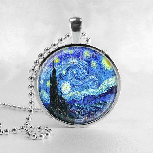 STARRY NIGHT Van Gogh Necklace Art Pendant Jewelry with Ball Chain, Starry Night Jewelry, Van Gogh