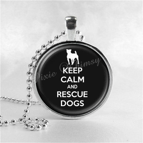 DOG RESCUE Necklace, Dog Rescue Pendant, Dog Lovers Necklace, Gift for Dog Lover, Dog Necklace, Adoption, Pit Bull, Gift for Pit Bull Owner