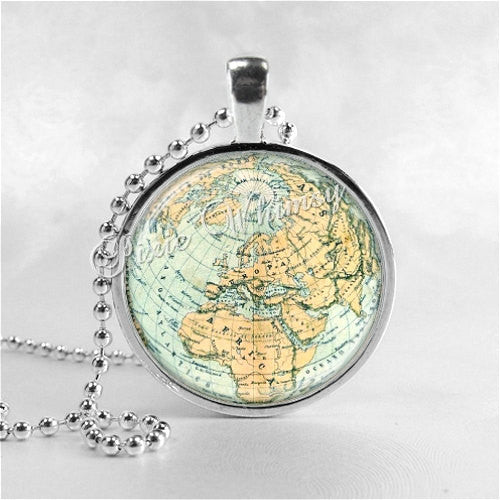 WORLD MAP Necklace Art Pendant Jewelry with Ball Chain, Vintage Map Necklace, Africa Map, Europe Map