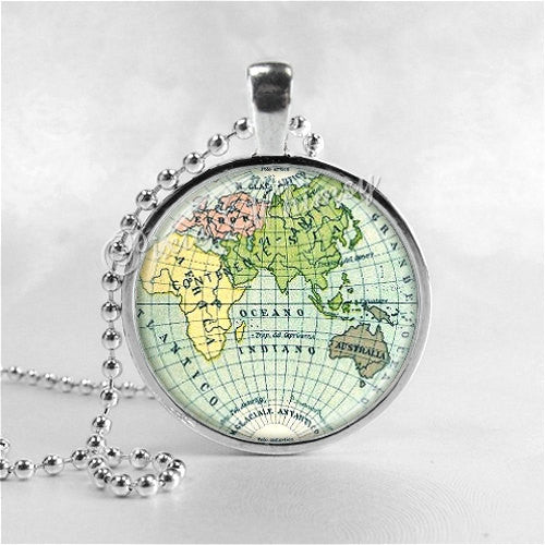 WORLD MAP Necklace Art Pendant Jewelry with Ball Chain, Vintage Map Necklace, Africa Map, Asia Map, Europe Map, Australia Map