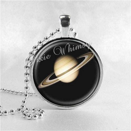 SATURN Necklace Art Pendant Jewelry with Ball Chain, Planet Necklace, Space Necklace, Planet Jewelry, Science, Galaxy