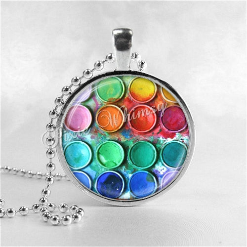 ARTIST Necklace Pendant Art Jewelry, Artist Paints Necklace, Artist Jewelry, Watercolor Paints Box, Artist Pendant, Artist Watercolor Colors