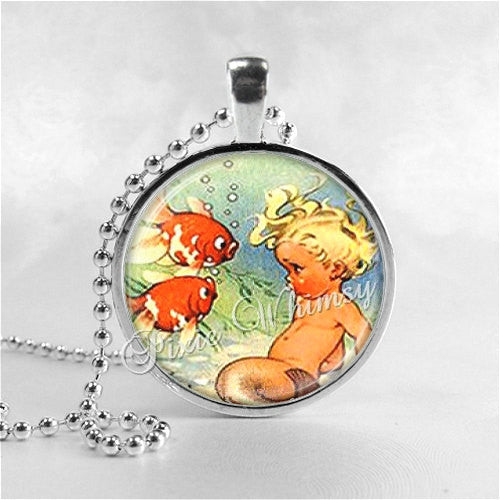 MERMAID BABY Necklace Pendant Photo Art Jewelry with Ball Chain, Mermaid Jewelry. Mermaid Pendant