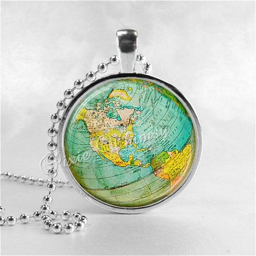 WORLD GLOBE Pendant Necklace, Vintage World Map Necklace, Vintage Antique Globe, Travel Jewelry Charm Photo Art Jewelry Gift for Traveler