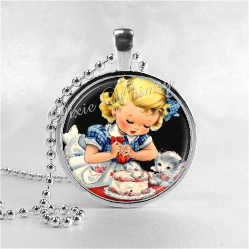 GIRL DECORATING CAKE Necklace Art Pendant Charm Jewelry, Birthday Cake, Baker, Cooking