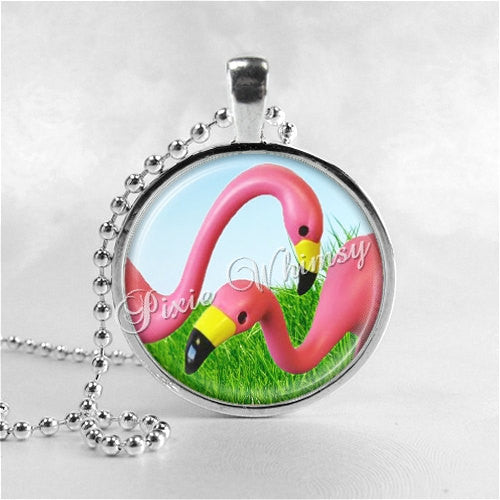 FLAMINGO Necklace, Retro Kitsch Flamingo, Photo Art Pendant Necklace Jewelry Charm, Flamingo Pendant, Flamingo Jewelry