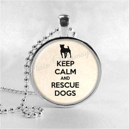DOG RESCUE Necklace, Keep Calm and Rescue Dogs, Glass Photo Art Necklace, Dog Jewelry, Dog Charm, Dog Pendant, Pet Adoption, Pet Rescue