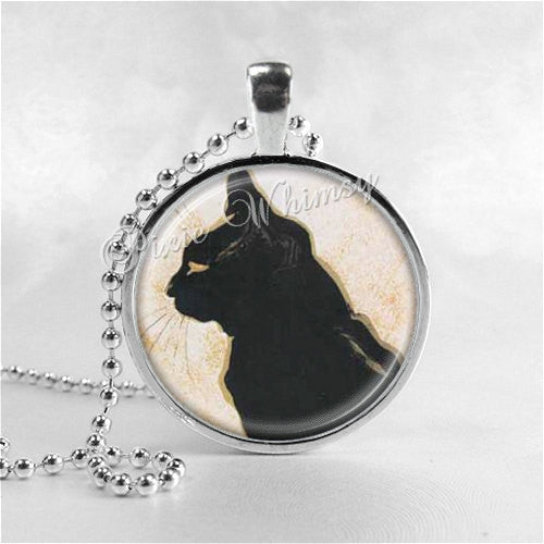 CAT Necklace, Cat Jewelry, Cat Pendant, Black Cat Necklace, Cat Lovers Photo Art Pendant Jewelry Charm