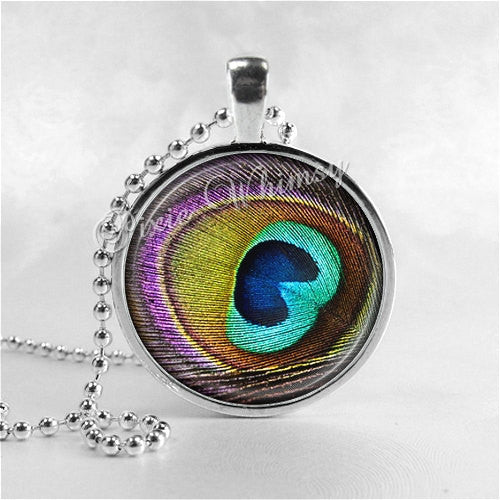 PEACOCK Feather Necklace, Peacock Pendant, Peacock Jewelry, Photo Art Glass Pendant