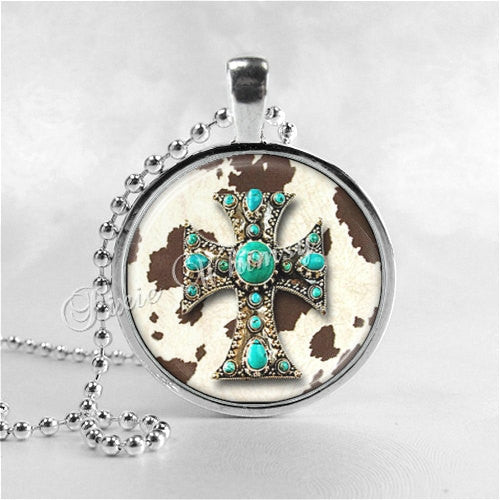 CROSS Pendant Necklace, Religious Jewelry, Christian Gift, Country Western Cowgrl Cowboy, Turquoise, Cowhide, Glass Art Pendant Charm