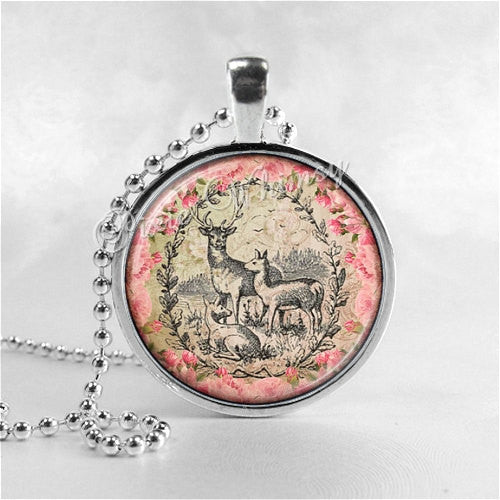 DEER Necklace, Deer Pendant, Deer Jewelry, Glass Art Pendant Charm, Animal Jewelry
