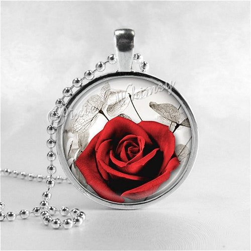 ROSE FLOWER Necklace, Flower Pendant, Flower Jewelry, Glass Art Pendant Charm, Red Rose