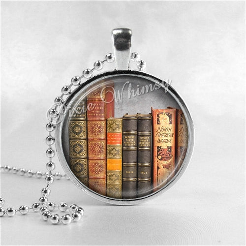 BOOKS Necklace Art Pendant Jewelry Charm, Read, Book Lover Jewelry, Book Nerd, Antique Books, Librarian, Library