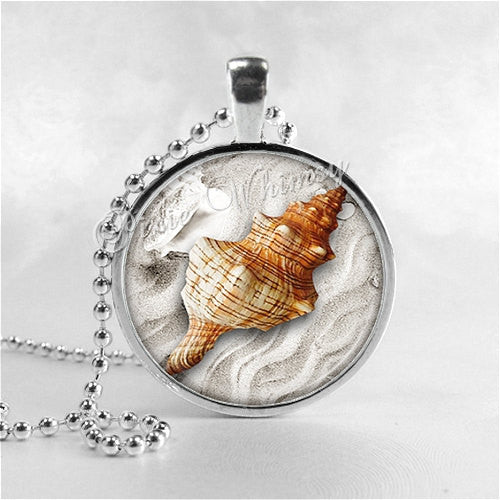 SEASHELL Necklace, Sea Shell Necklace, Seashell Pendant, Seashell Jewelry, Photo Art Pendant Jewelry Charm, Shell Jewelry, Nautical Jewelry