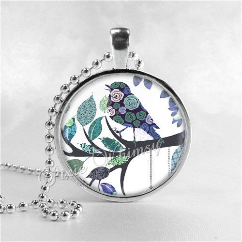 BIRD Necklace, Bird Pendant, Bird Jewelry, Bird Charm Photo Art Glass Necklace Pendant Charm