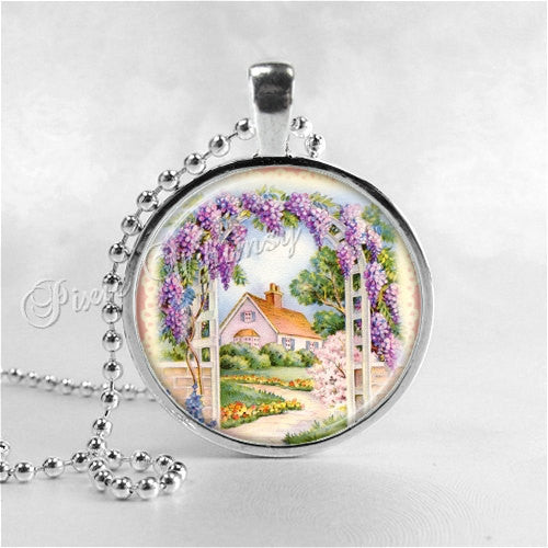 COTTAGE GARDEN Necklace, Flower Necklace, Flower Pendant, Flower Jewelry, Flower Charm, Glass Photo Art Pendant