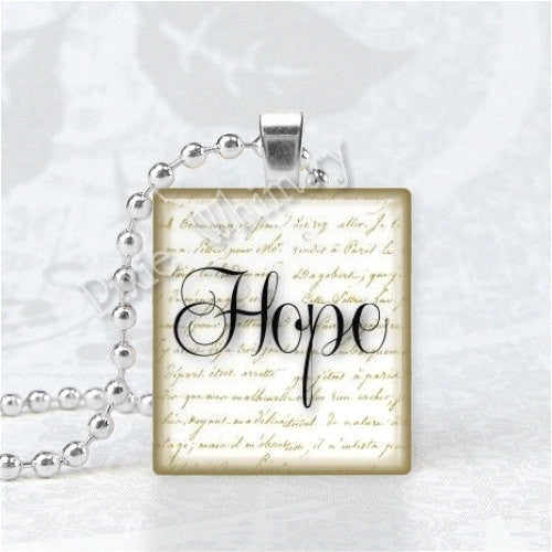 HOPE Pendant, Inspirational Word Jewelry, Scrabble Tile Art Pendant Charm Jewelry, Hope Pendant, Hope Jewelry