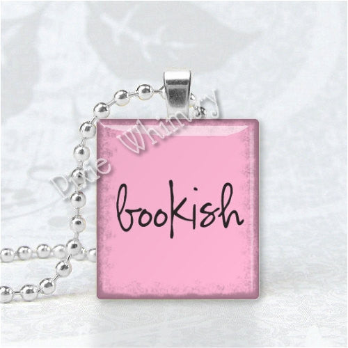 BOOKISH, Book Pendant, Book Jewelry, Book Scrabble Tile Altered Art Pendant Charm, Writers Jewelry