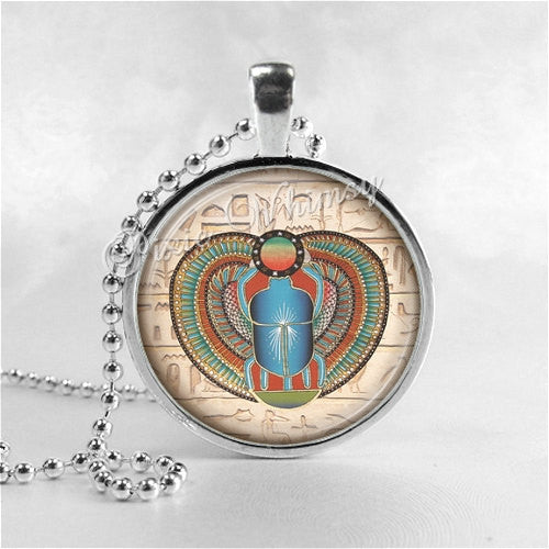 SCARAB Necklace, Egyptian Scarab Jewelry, Scarab Pendant, Glass Pendant Art Jewelry Charm, Egyptian Jewelry