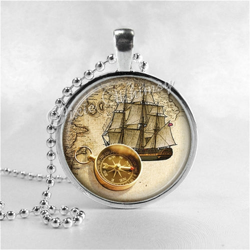 VINTAGE MAP Necklace, Ship, Nautical Compass, Map Necklace, Map Jewelry, Map Pendant, Vintage Map, Glass Photo Art Necklace Pendant Charm