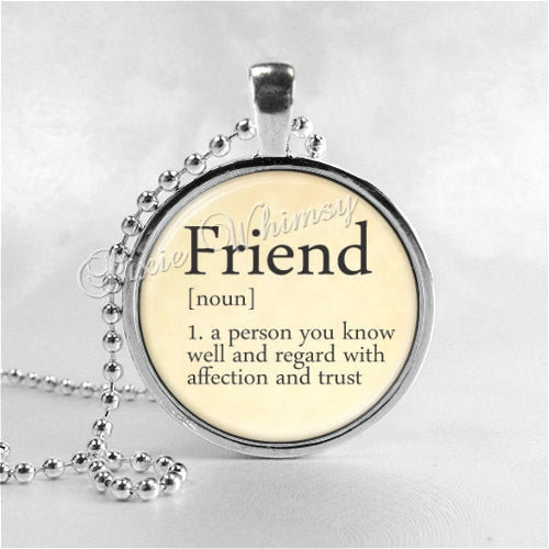 FRIEND Necklace, Friend Pendant, Friendship Jewelry, Glass Art Pendant Charm, Dictionary Word Definition