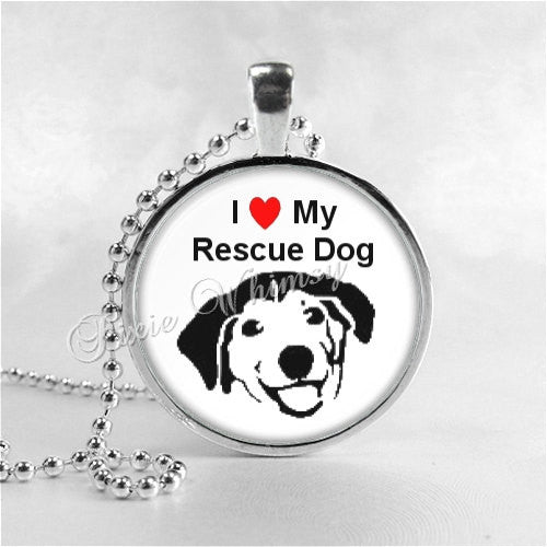 DOG RESCUE Necklace, I Love My Rescue Dog Photo Pendant Jewelry Charm, Dog Necklace, Pet Adoption, Pet Rescue, Humane