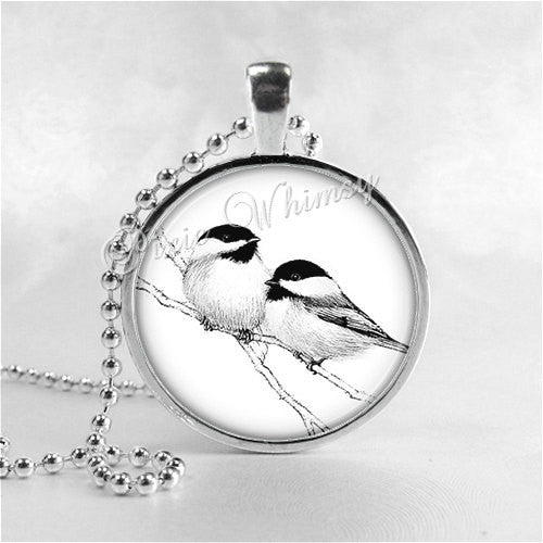 CHICKADEE BIRD Necklace, Bird Pendant, Bird Jewelry, Bird Charm Photo Art Glass Necklace Pendant Charm