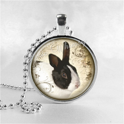 RABBIT Necklace, Rabbit Pendant, Rabbit Jewelry, Rabbit Charm, Photo Art Glass Necklace Pendant Charm