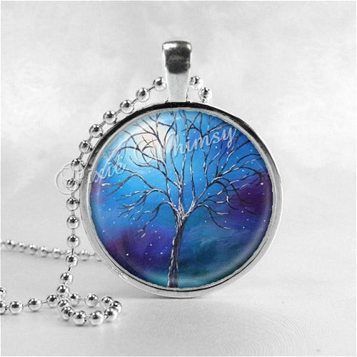 FULL MOON Necklace, Tree Necklace, Tree Pendant, Tree Jewelry, Tree Charm, Photo Art Glass Necklace, Nature Jewelry, Tree of Life