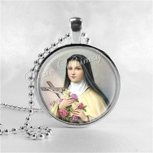 SAINT TERESA Necklace, Saint Teresa Jewelry, Christian Jewelry, Glass Photo Art Necklace, Religious Jewelry