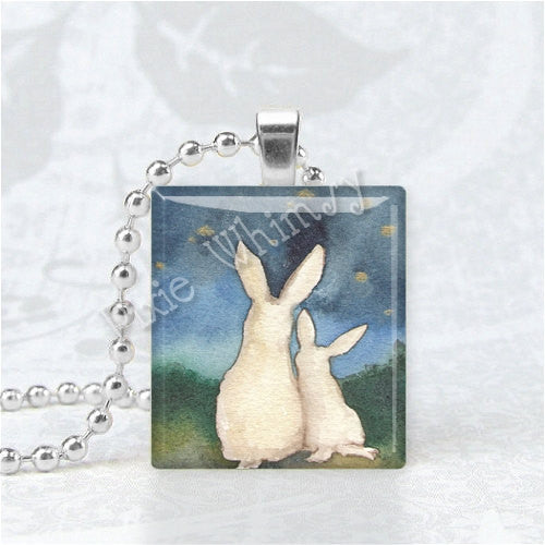 RABBIT Mother and Baby Pendant, Rabbit Jewelry, Bunny Jewelry, Scrabble Tile Art Pendant Charm, Mothers Day